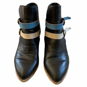 Pink Martini Blue Leather Booties Size 7